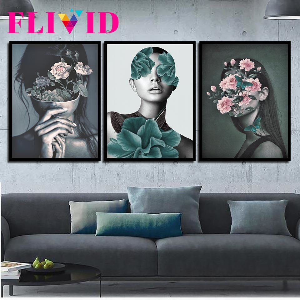Abstract Flower Girl Nordic Poster Wall Art Canvas Painting Picture Posters And Prints Pictures For Living Room Unframed