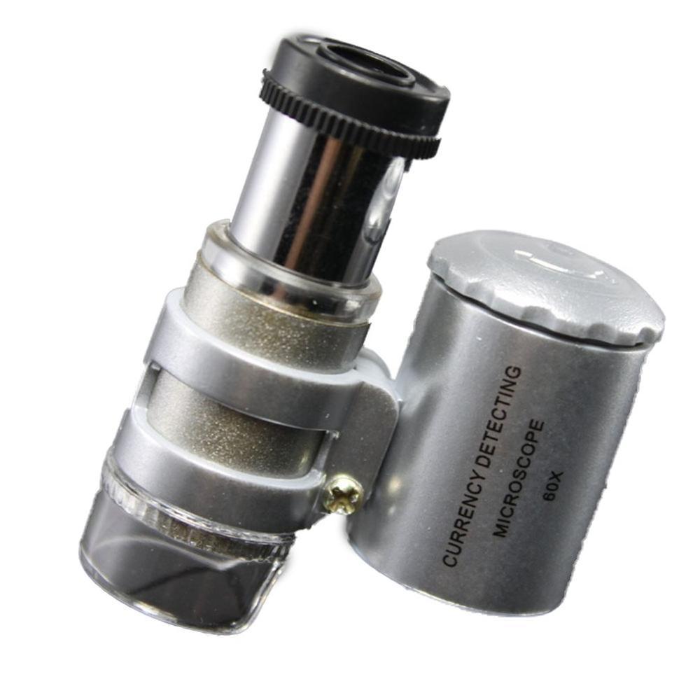 Durable Fashion Creative Mini 60X Pocket Microscope Jewelry Magnifier Loupe Glass LED UV Light Brand New
