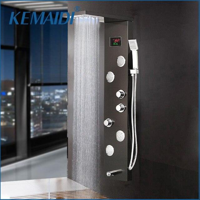 KEMAIDI-عمود دش ، صنبور حمام ، شاشة LED رقمية لدرجة الحرارة ، نفاثات نظام تدليك الجسم ، 12 اختيارًا