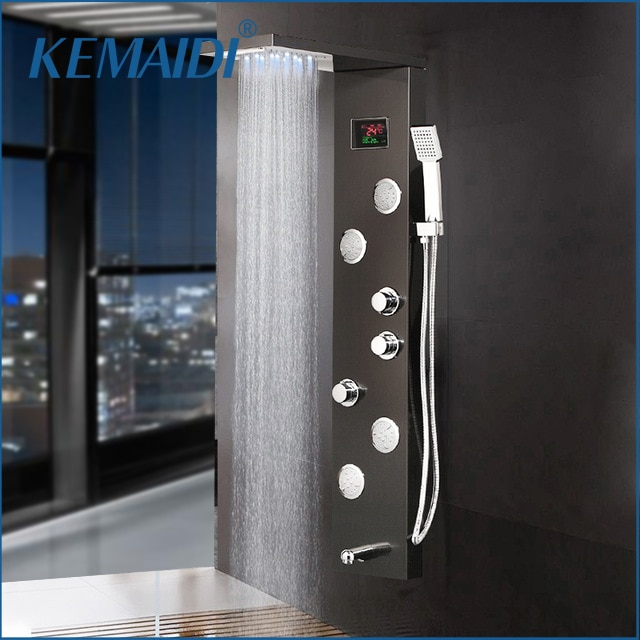 Grifos de columna de ducha KEMAIDI, 12 opciones, color negro, grifo de baño, indicador Digital de temperatura, Panel de ducha LED, sistema de masaje corporal, chorros