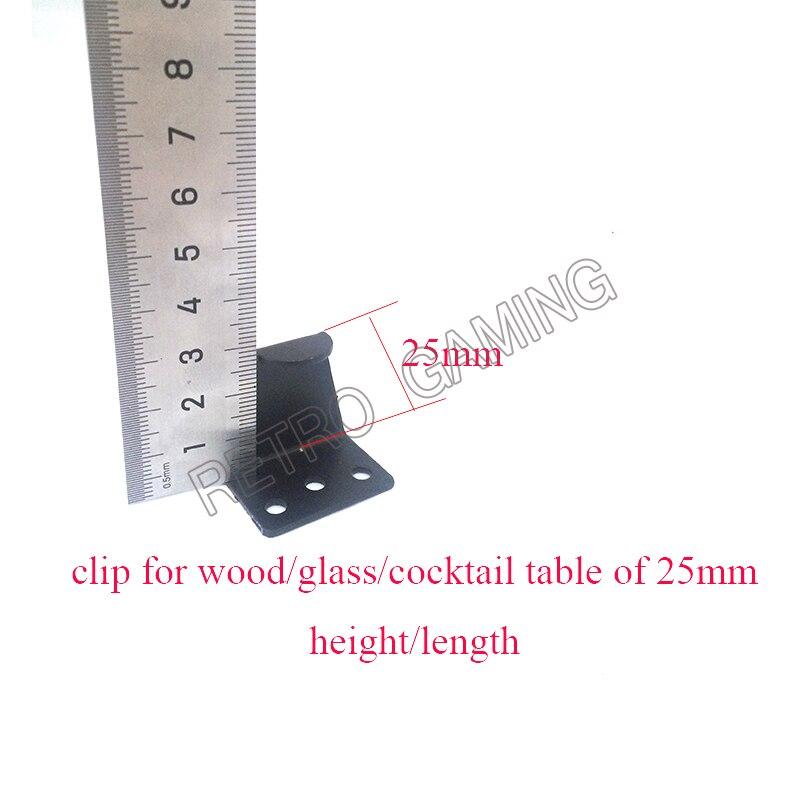 Boa qualidade mesa de cocktail clipes de vidro 25/26mm profundidade em pó revestido detalhe de aço preto para a máquina do armário da arcada