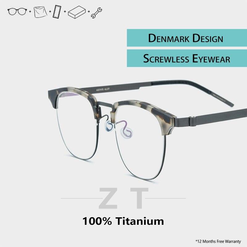Óculos de titânio screwless quadro homem claro acetato semi sem aro óculos designer marca homem miopia tag eyewear