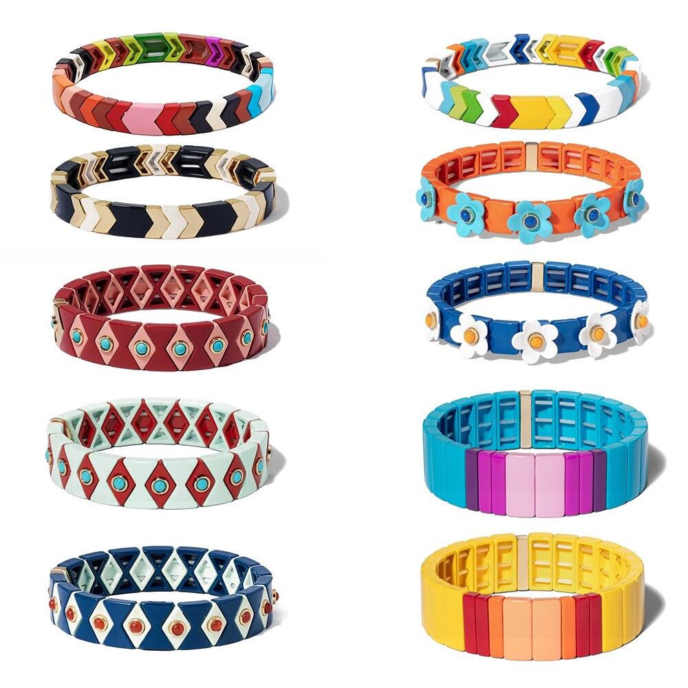 KELITCH, pulsera Tribal Boho, hecha a mano, amistad, trenzada, esmalte apilable, pulsera con mosaico de arcoíris, brazalete a la moda para mujer, nuevo