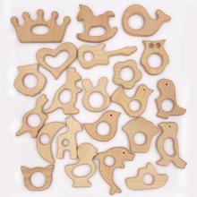 4 pièces anneaux en bois naturel Animal antilope cheval Sika cerf dentition bricolage attache-sucette bois Qrganic bébé lisse dentition perles