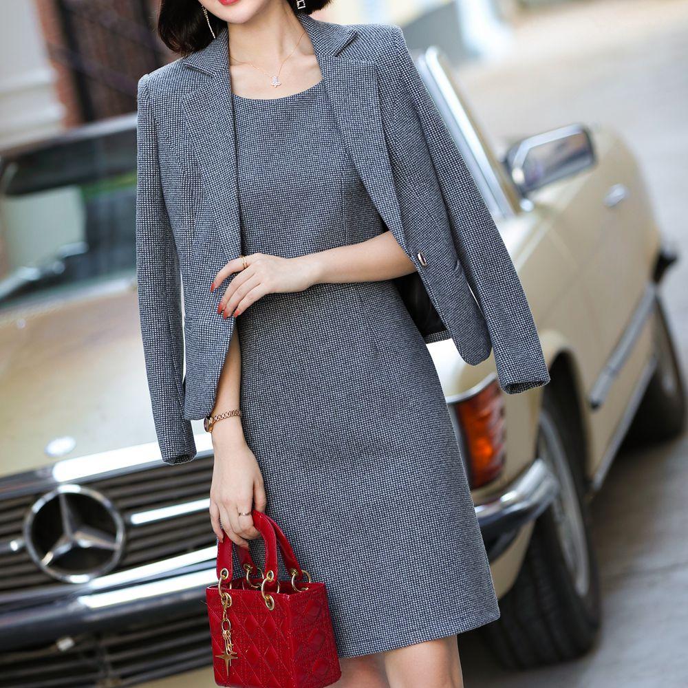 Korean Autumn Solid Color Fashion  Suit Office Lady Business Work Wear Formal Dress Suits Female 2 Piece Dress Jacket Suits Set