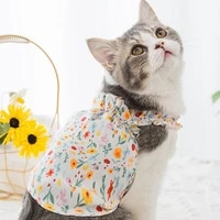 cat floral print vests bohemian korean flower camis sleeveless pet clothes beach holiday new fashion little dog cotton tank tops