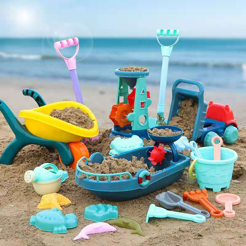 Beach Toys For Kids Play Water Toys Sand Box Set Kit Sand Table Sand Bucket Summer Toys for Beach Play Sand Water Game Play Cart