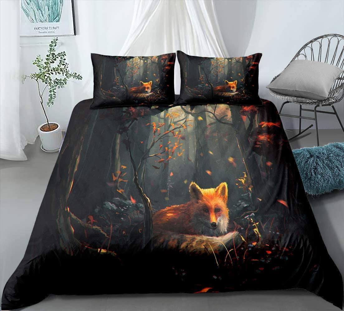 Лиса постельное белье дети 3D бурая лиса в пещера в виде зверушек хлопковые Постельное белье постельное белье Прямая доставка один двойной д...