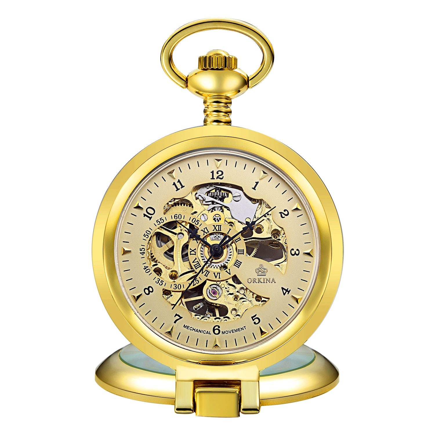 Gorben Golden Mechanical Pocket Watch Men Fashion Retro Casual Skeleton Dial Silver Hand Wind Male Fob Chain Watches