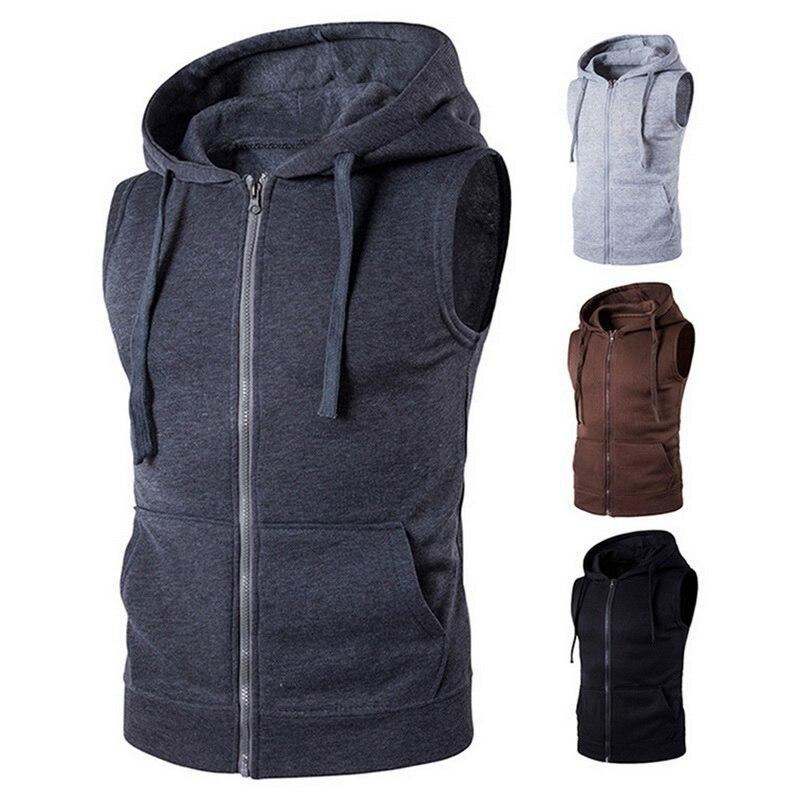 Жилет мужской однотонный без рукавов, повседневная кофта с капюшоном, жилет на молнии с карманами, одежда на осень
