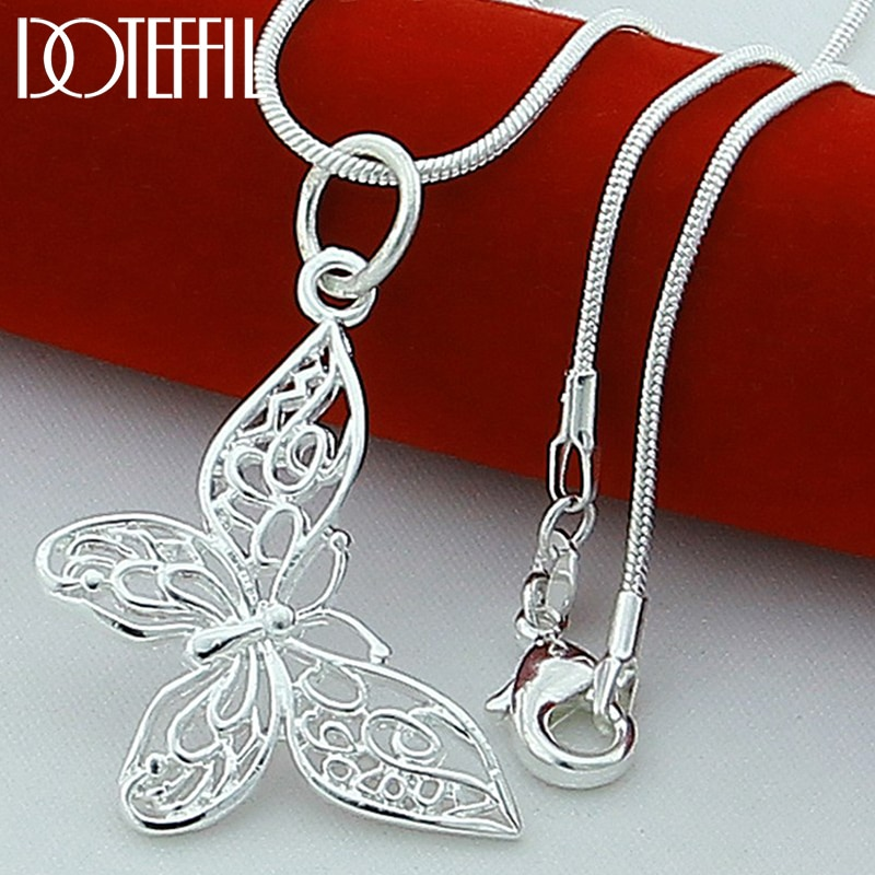 AliExpress - DOTEFFIL 925 Sterling Silver Butterfly Pendant Necklace 18/20/22/24 inch Snake Chain For Women Wedding Engagement Jewelry