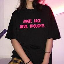 Angel face devil thoughts print streetwear women tops chic Harajuku summer new fashion loose O-neck tees ulzzang T-shirt