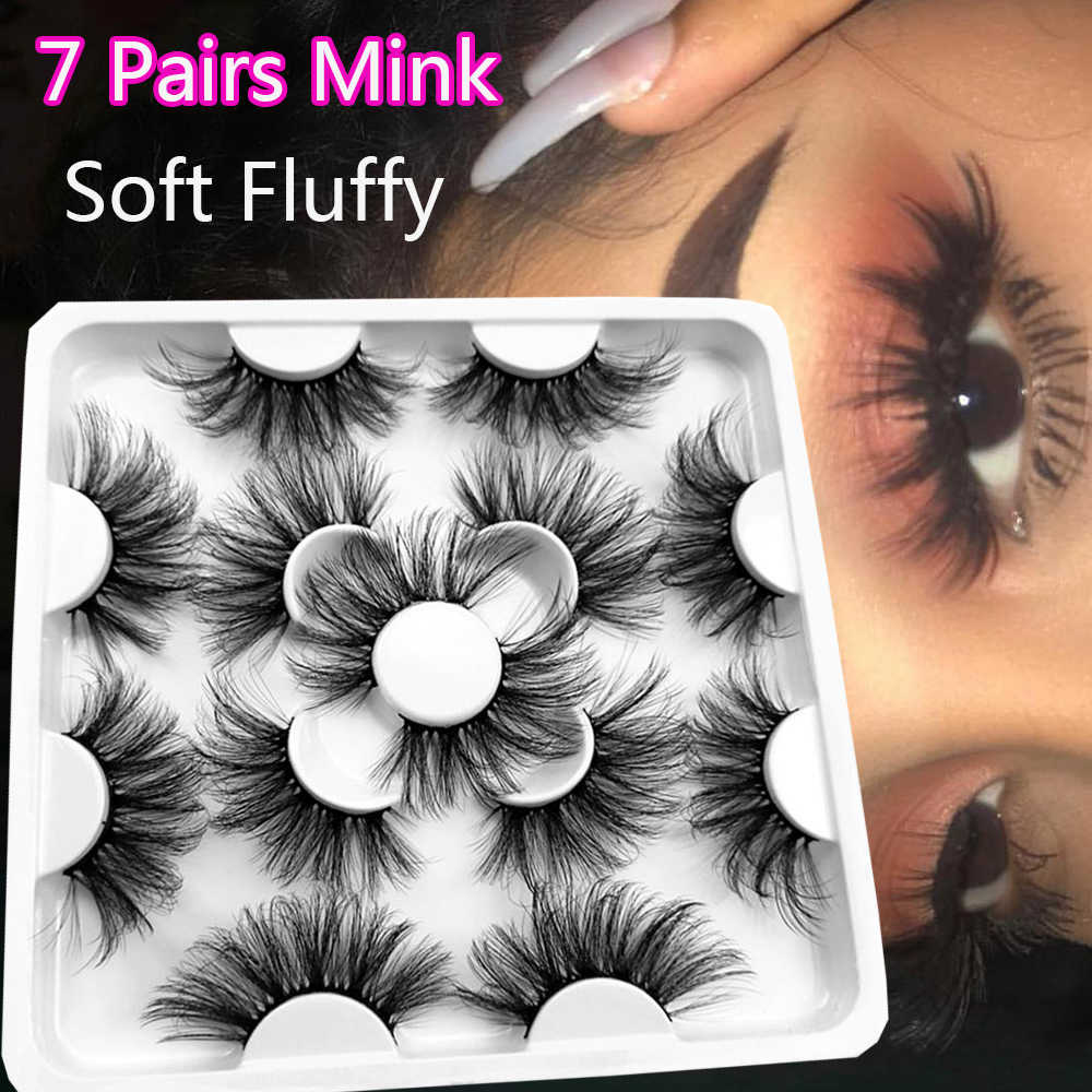 5 7pairs 25mm Soft Fluffy 3d Mink False Eyelashes Dramatic Long Wispies Lash Extension Natural Volume Beauty Handmade Eye Makeup False Eyelashes Aliexpress