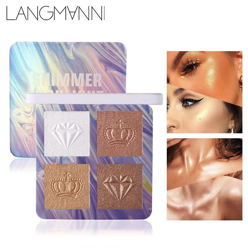 Maquillaje Profesional juego de contorno de la cara 4 colores en polvo resaltador paleta resaltado bronceador dorado maquillaje
