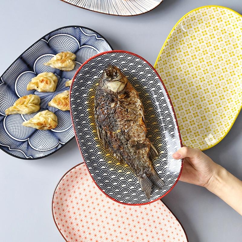 Plato de cerámica japonés creativo para el hogar, plato de pescado al vapor, red, vajilla para restaurante, plato para comida, plato ovalado de 10 pulgadas, plateLB42708