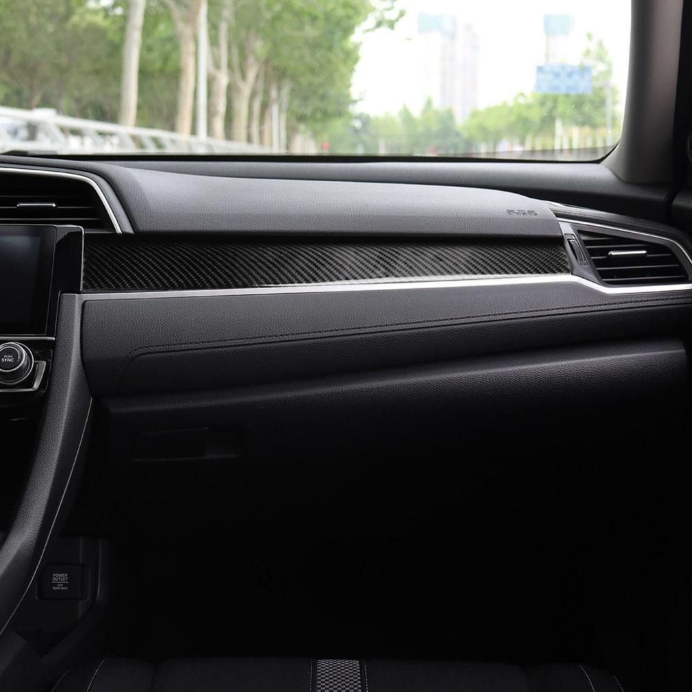 Fibra de carbono interior do carro copiloto painel capa adesivos para honda civic 10th gen 2016-2019 tira de controle central acessórios