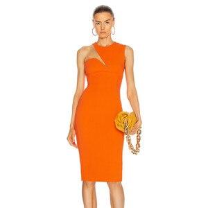 New Women Sexy Designer Lace Mesh Orange Black Tank Bandage Dress 2021 Ladies Elegant Celebrity Bodycon Party Dress Vestido