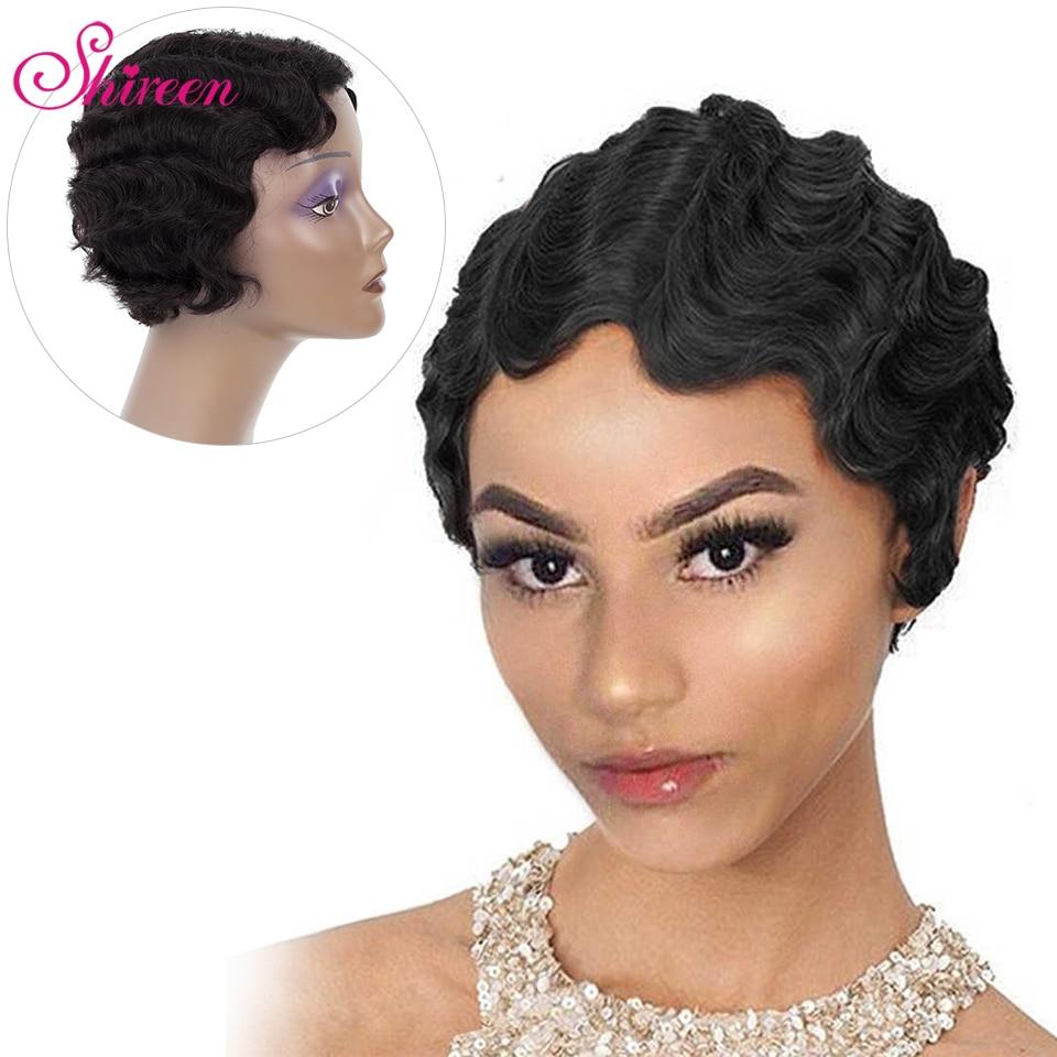 Shireen Hair Finger Wave Wigs For Black Women Peruvian Ocean Wave Short Human Hair Wigs Remy Human Hair For Women