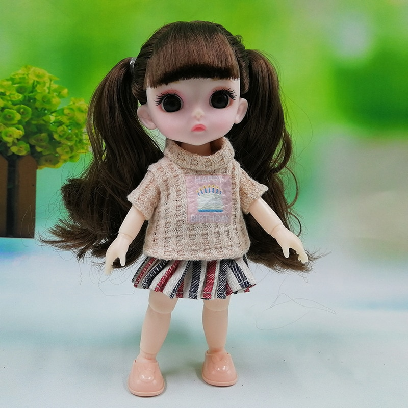 New 16cm Bjd Doll Toy 13 Movable Joints 3D Big Eyes Cute Baby Girl Dress Up Fashion Doll Multicolor Hair Girl Toy Christmas Gift new 21 movable joint 60cm bjd doll 3d eyes long wig detachable hair cover 1 3 fashion dress up body doll girl toy christmas gift