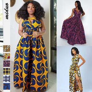 Donsignet Woman Dress Middle East Printing V-Neck Sleeveless Women Nightclub DIY Multiple Ways To Wear Fashion Long Dress