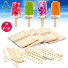 Bâtonnets crème glacée artisanale en bois, 100 pièces/lot, pour les gâteaux naturels, artisanat artisanal pour enfants, artisanat ZXH