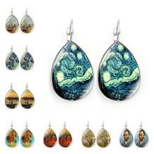A pair of Earrings New Accessories Van Gogh Starry Time Gem Retro Earrings Metal Glass Earring Jewelry Earrings For Women
