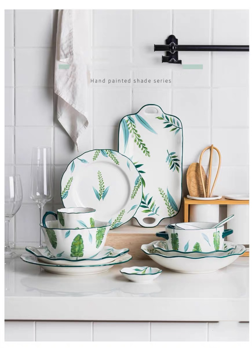 Plato de cerámica plato profundo plato de planta creativo estilo europeo plato de carne porcelana microondas nuevo