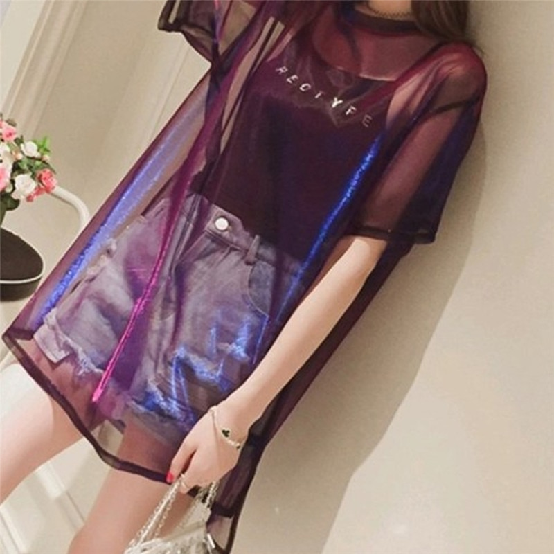 Las mujeres de malla pura camiseta camisola Tops nueva moda manga corta pantalones Tops desgaste femenino verano traje Casual