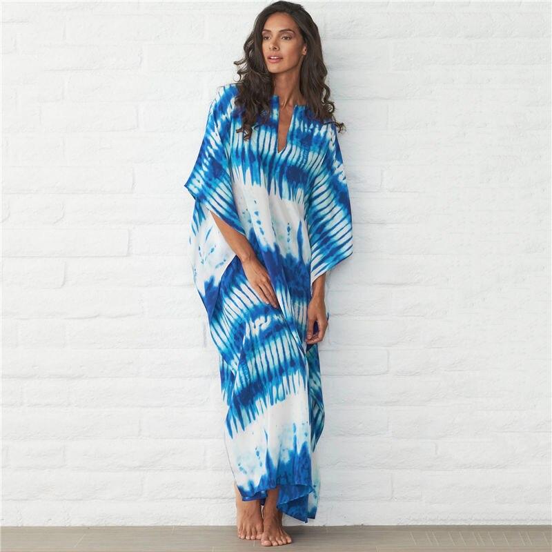 Blue Bohemian Striped Bikini Cover-ups Casual cuello pico vestido de verano suelto Túnica de algodón mujeres playa Wear traje de baño cubierta hasta 1060