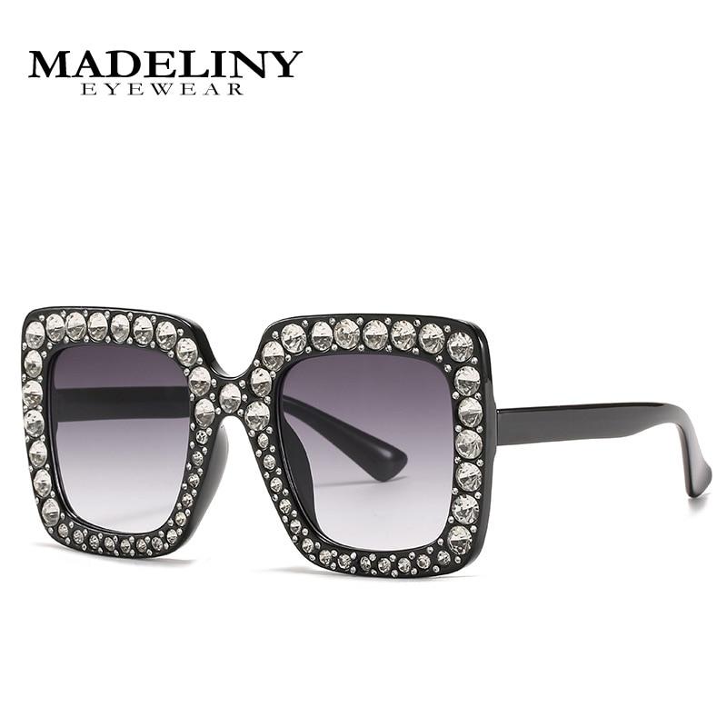 MADELINY Luxury Diamond Square Sunglasses Women Brand Designer Mirror Big Rhinestone Rays Shades Lad