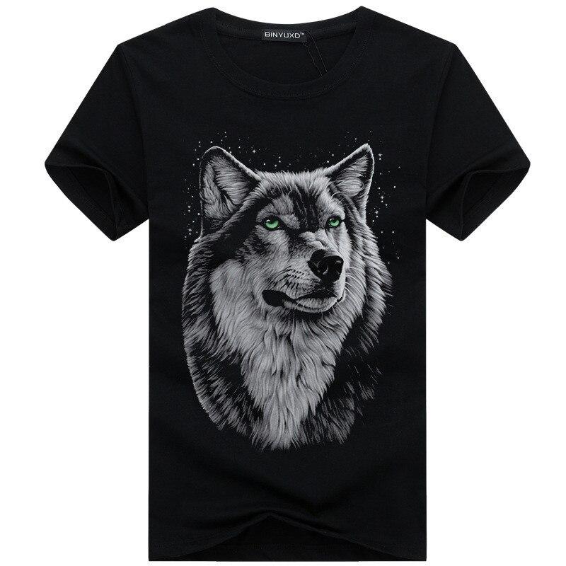 Nueva tendencia, camiseta con gráfico de lobo para hombre, Fina camiseta negra de algodón de manga corta para verano, ropa de cuello redondo, camiseta para hombre