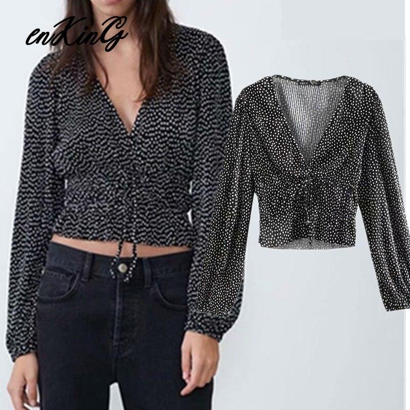 2019 Inglaterra elegante plisado polka dot V cuello corto kimono za camisa mujeres blusas mujer de moda 2019 camiseta para mujer Camisetas de talla grande