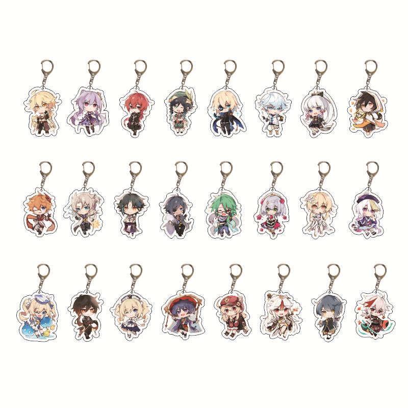 Cosplay Genshin Impact Zhongli Diluc Keychain Cute Game Character Venti Paimon Tartaglia Mona Acrylic Key Chain Pendant Keyring