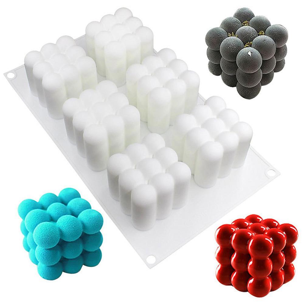 Molde cóncavo 3D de silicona para decoración de tartas, herramientas mágicas para bolas y cubos, molde de silicona para Postres, utensilios para hornear, molde para pasteles