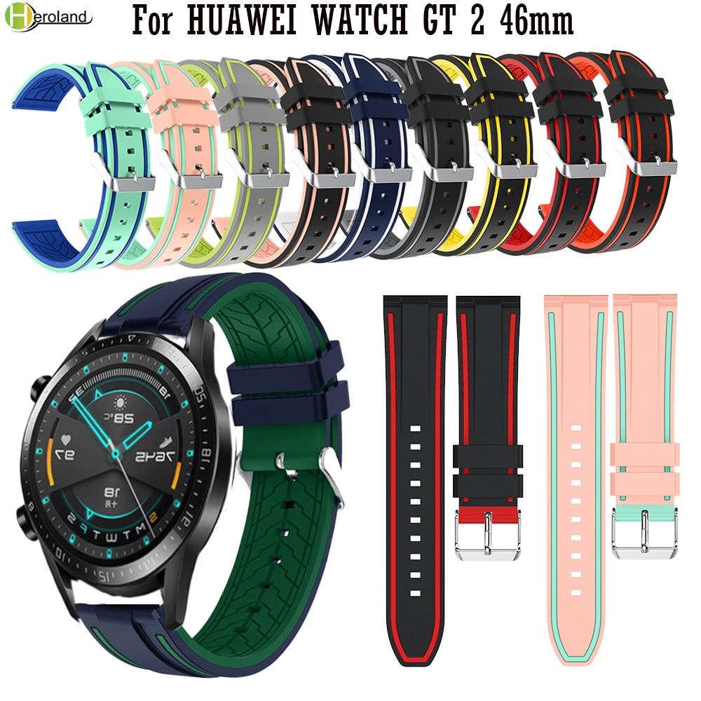22MM deporte reloj de silicona correa para reloj HUAWEI GT 2 46mm/para huami Amazfit Stratos 2 2S inteligente reloj pulsera WirstStrap