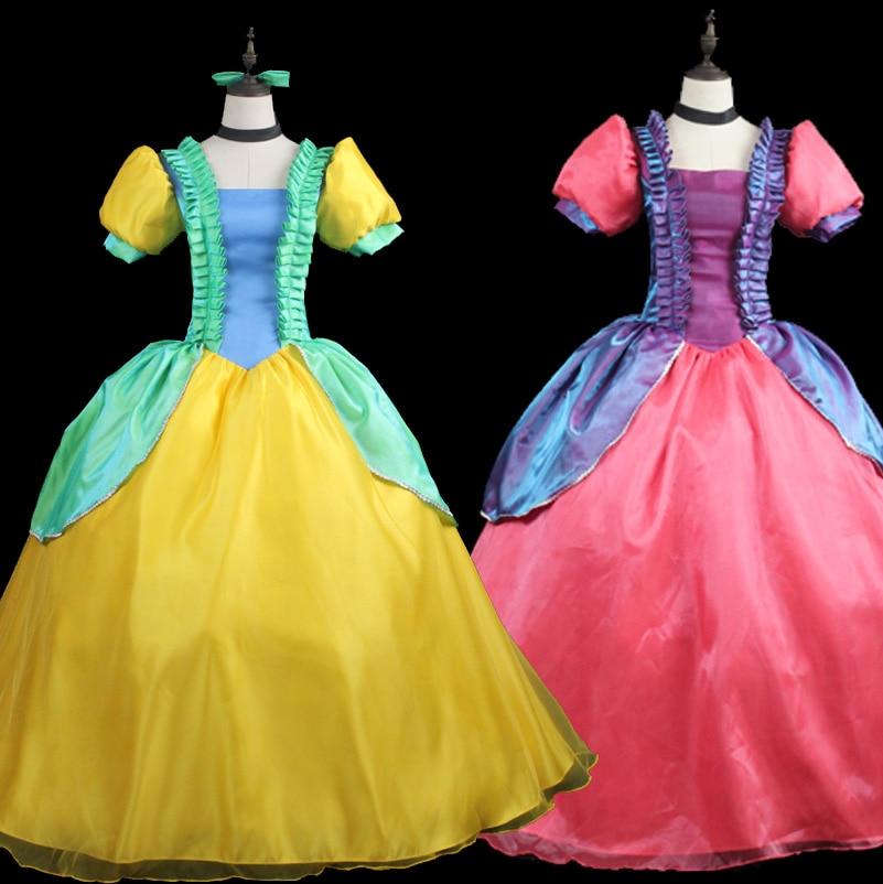 فستان الأميرة الأنيق للسيدات البالغات من فيلم سندريلا كوسبلاي شقيقة Drizella Anastasia فستان حفلة هالوين رائع