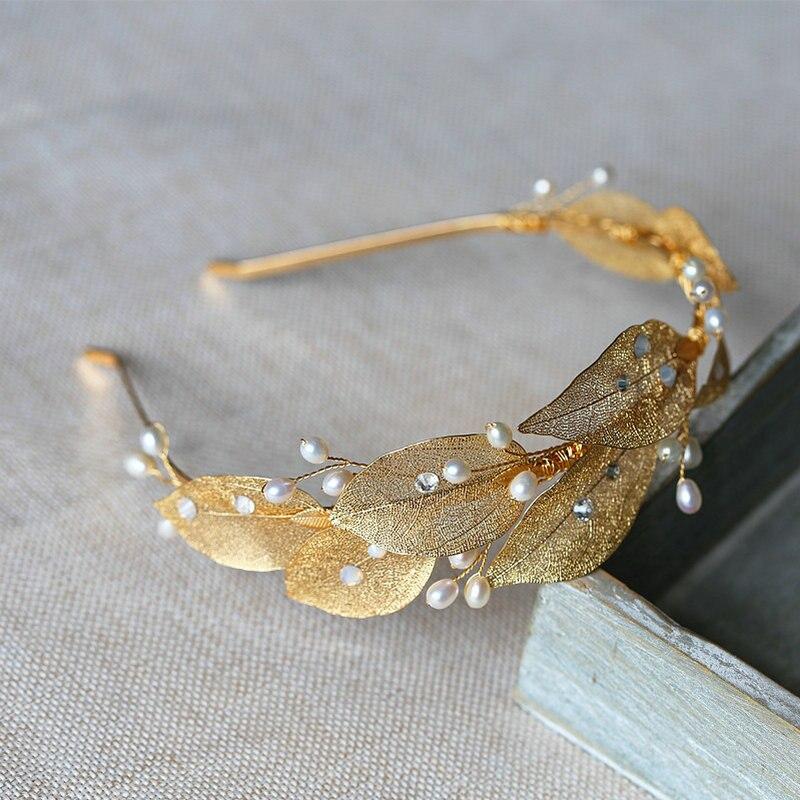 Lindo Nupcial Tiara de Ouro Folhas de Noiva Acessórios Para o Cabelo Cocar de Casamento de Pérolas Naturais