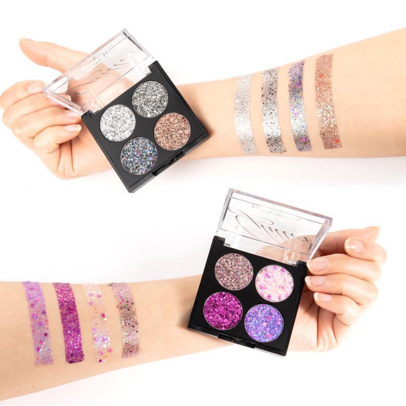 HANDAIYAN тени для век профессиональные 4 цвета блестящие тени для век Палитра Водонепроницаемая Косметика Новая мода