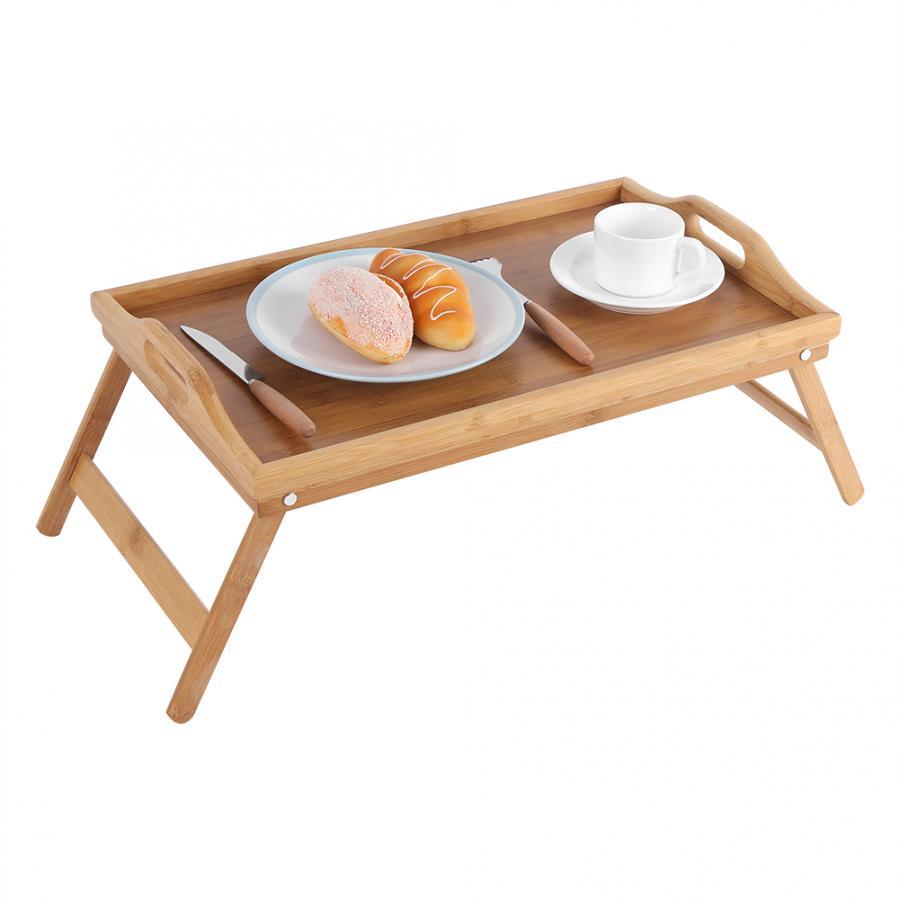 Household 50x30x4cm Bamboo Wood Bed Tray Breakfast Laptop Desk Office Tea Food Serving Table Folding Leg