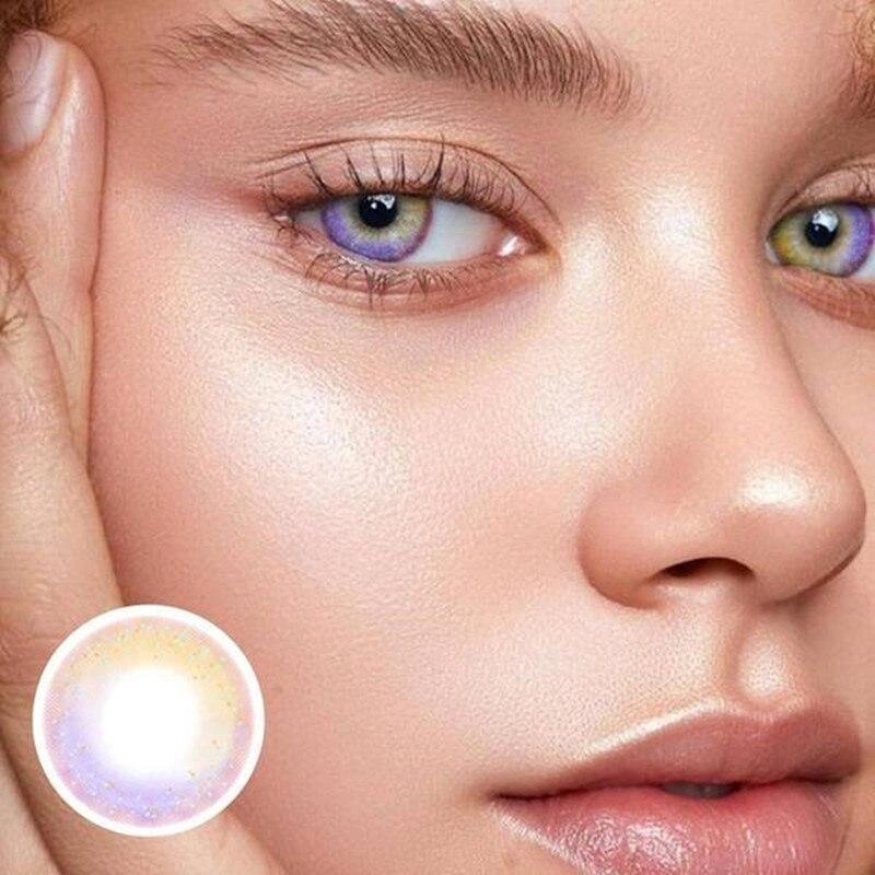 1 par de lentes de contato cosméticas do arco-íris lentes de contato da pupila pequena lentes de contato cosméticas coloridas para o uso anual da lente da cor dos olhos