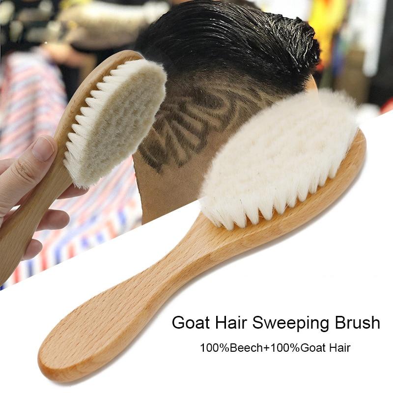 Cepillo de pelo de cabra Brainbow suave para hombres, peine de barba, mango de haya ovalado, cepillo de polvo de barbero para herramientas de Limpieza del cabello rota