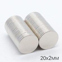 50 Uds 20x2mm N35 NdFeB Mini Super fuerte imán permanente para nevera de tierras raras imán redondo pequeño de neodimio 20*2 Material magnético