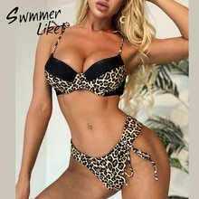 Luipaard Print Bikini 2020 Push Up Badpak Vrouwelijke Tweedelige Hoge Cut Badpak Thong Brazilië Badmode Vrouwen Patchwork Biquini