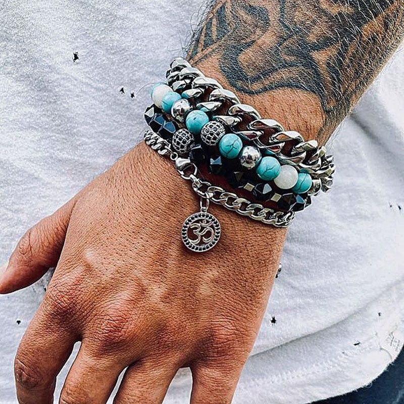 Men Bracelet Set New Design Stainless Steel Chain CZ Yoga Charm Natural Stone Beaded Bacelet Set For