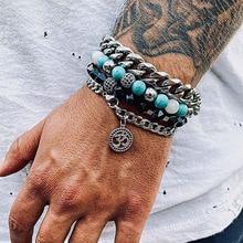 Men Bracelet Set New Design Stainless Steel Chain CZ Yoga Charm Natural Stone Beaded Bacelet Set For