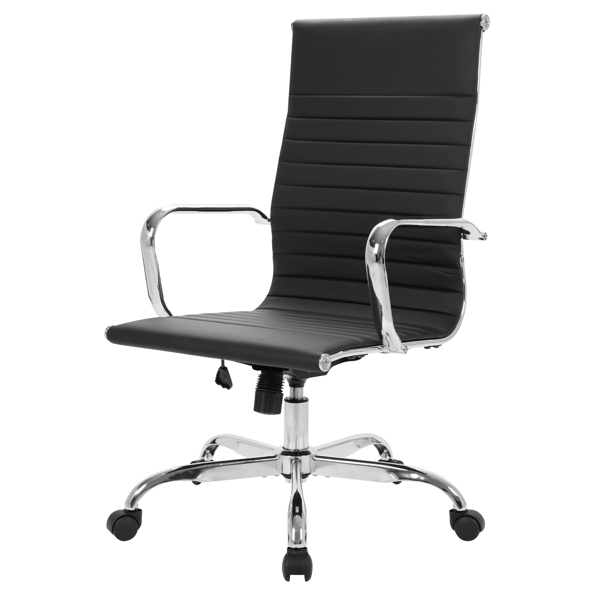 homall ribbed office chair mid back pu leather executive conference desk chair adjustable swivel chair with comfortable arms GOSKEY High Back Office Chair PU Leather Ribbed Swivel Tilt Adjustable Home Desk Chair with Armrest Executive Conference Black