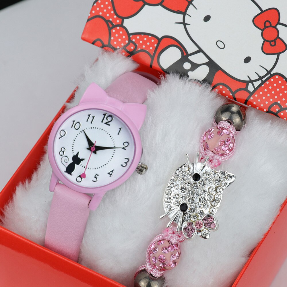 Fashion Cut Cat Children Watches Gift Kids Watch For Girl Belt Strap Watch For Kid Multicolor Girl Wristwatch Best Birthday Gift pj masks greg luxury cat car connor cat kid owl girl flying wall man anime figures toys for children birthday gift 7d08