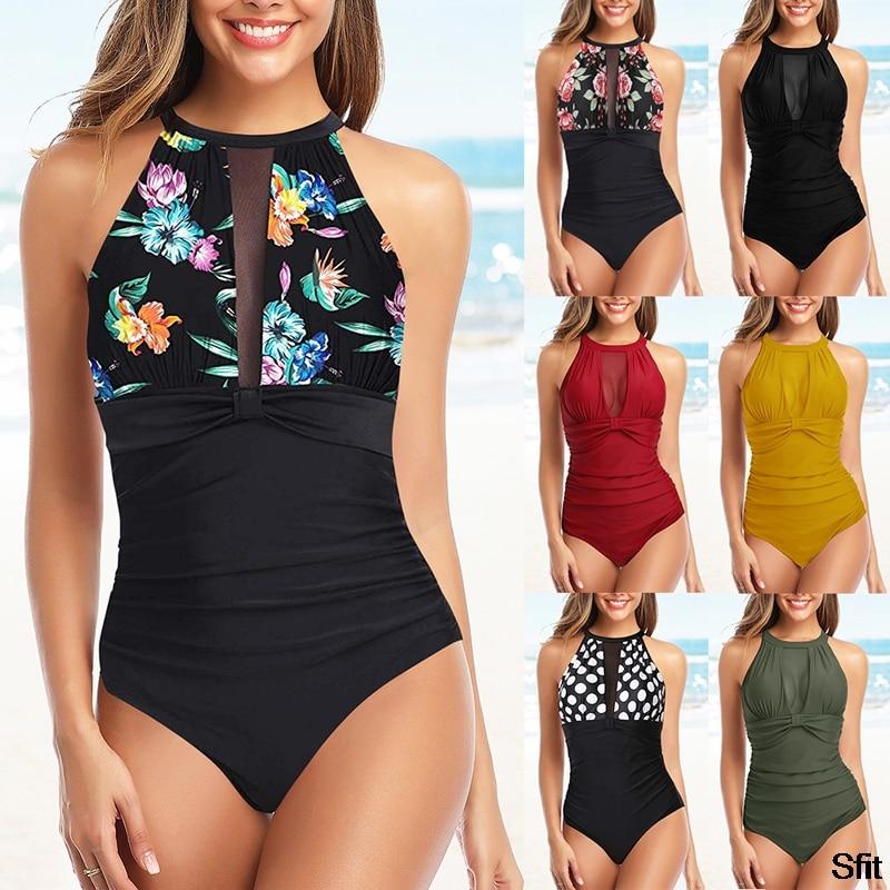 one piece bikini swimsuit Women One-piece Swimwear Tummy Control Swimwear High Neck Halter bodycon high waist bathing wear
