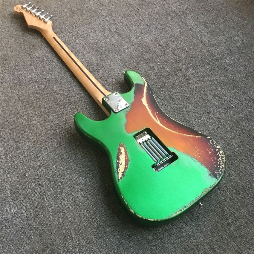 Antique electric guitar, metal green and black guard board, real photos, free shipping, can be modified and customized enlarge