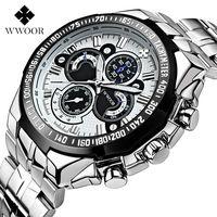WWOOR мужские часы люксовый бренд военные спортивные часы с большим циферблатом мужские часы из нержавеющей стали водонепроницаемые кварцев...